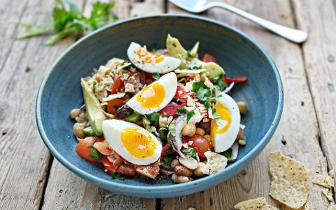 Mexican salad with soft boiled eggs